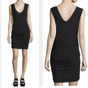 James Perse Classic Ruched V-Neck Sleeveless Dress